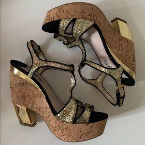 Miu Miu Gold Wedge Glitter Heel Sandal